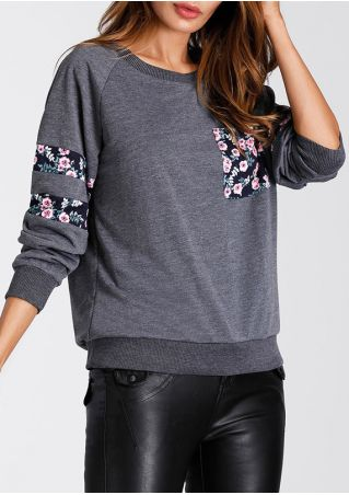 Floral Splicing Pocket O-Neck Sweatshirt
