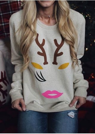 Deer Antler Lips O-Neck Sweatshirt without Necklace