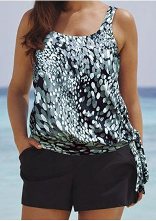 Printed Tie Pocket Tankini