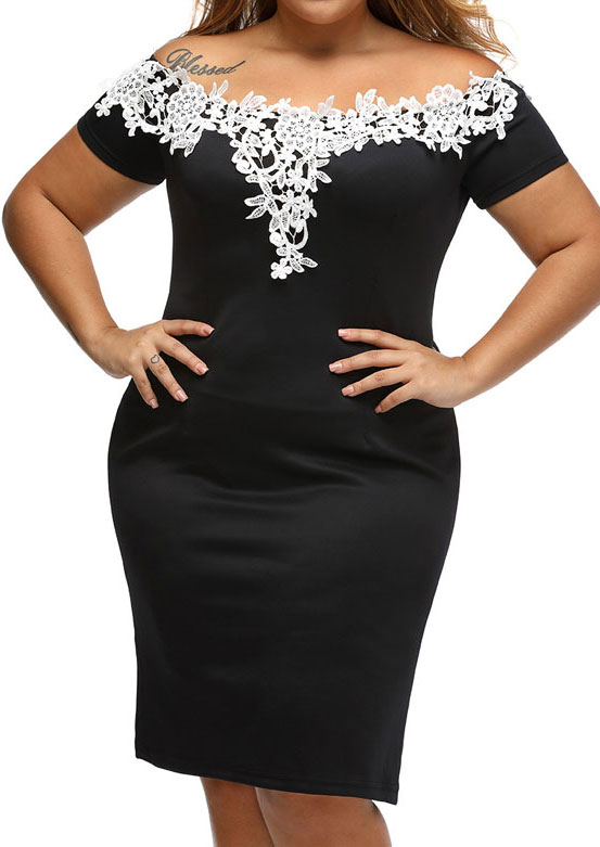 Lace Splicing Off Shoulder Bodycon Dress 127765