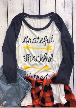Grateful Thankful Blessed Arrow Baseball T-Shirt