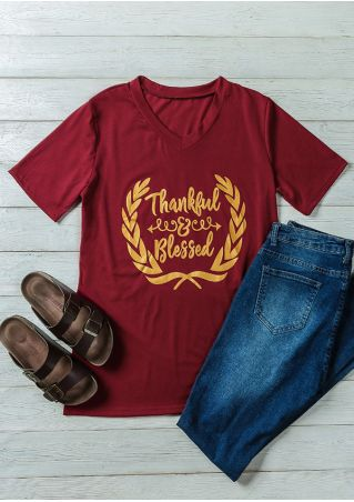 Thankful & Blessed V-Neck Short Sleeve T-Shirt