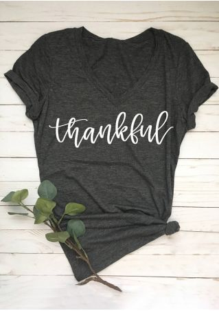 Thankful V-Neck Short Sleeve T-Shirt