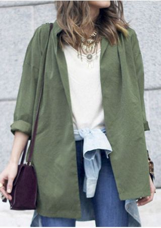 Solid Slit Cardigan with Belt without Necklace