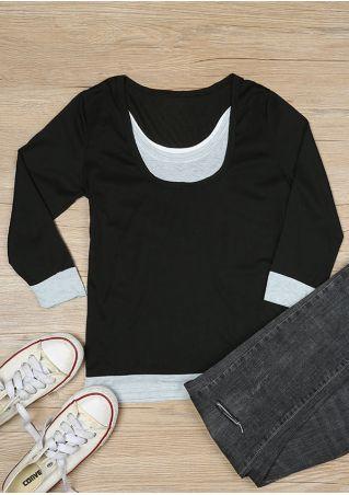 Color Block Splicing O-Neck T-Shirt
