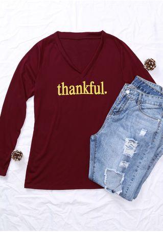 Thankful V-Neck Long Sleeve T-Shirt