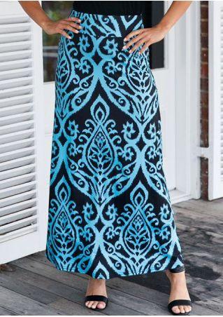 Tendril Printed Elastic Waist Long Skirt