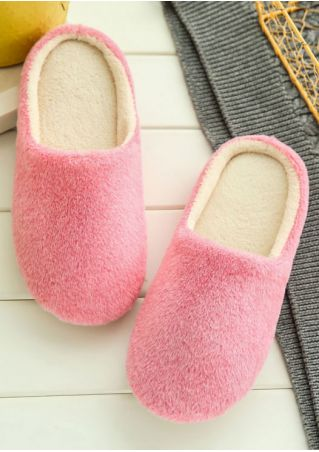 Solid Round Toe Soft Warm Slippers