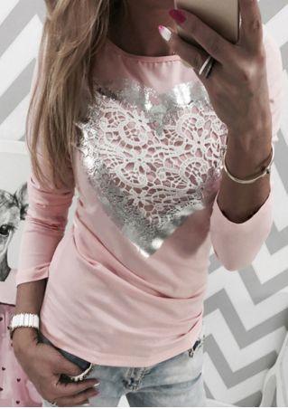 Applique Heart Printed O-Neck T-Shirt