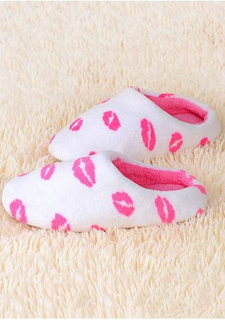 Lips Color Block Warm Flat Slippers