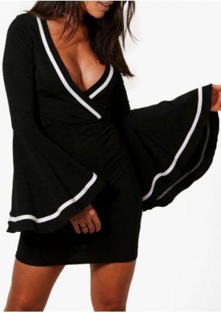 Splicing Deep V-Neck Flare Sleeve Bodycon Dress