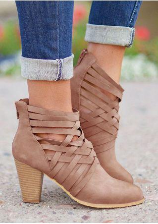 Solid Cross Zipper Heeled Boots