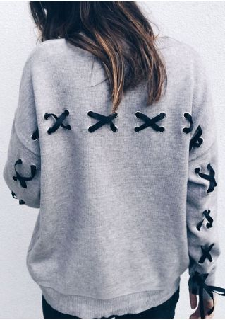 Solid Lace Up O-Neck Sweatshirt