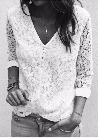 Solid Lace Floral Blouse without Necklace