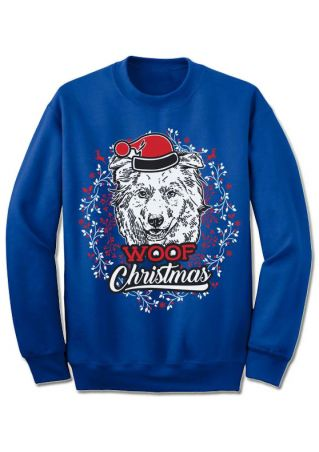 Christmas Woof Hat O-Neck Sweatshirt