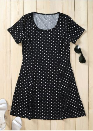 Polka Dot O-Neck Mini Dress