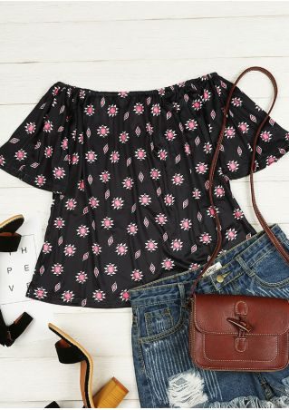 Geometric Printed Off Shoulder Blouse