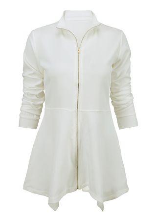 Solid Asymmetric Zipper Long Sleeve Coat