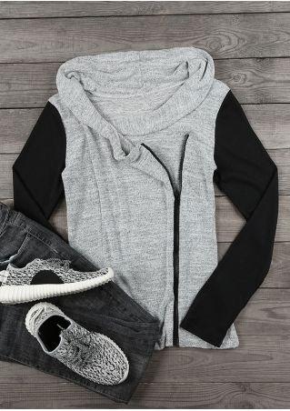 Color Block Splicing Zipper Sweatshirt