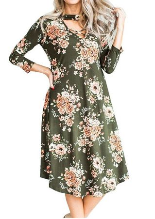 Floral Cross V-Neck Casual Dress