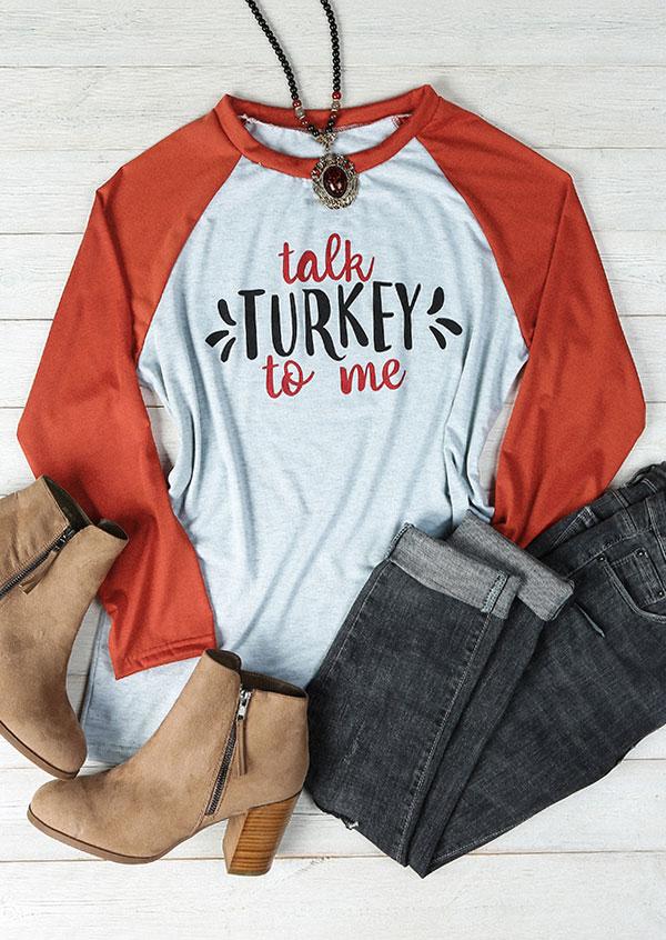 Plus Size Talk Turkey To Me Baseball T-Shirt 163006