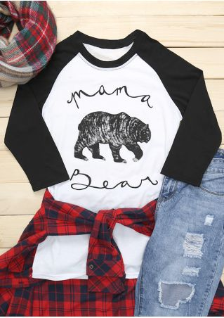 Mama Bear Printed O-Neck Baseball T-Shirt