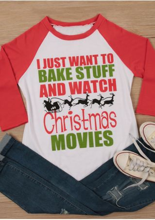 Bake Stuff And Watch Christmas Movies Baseball T-Shirt