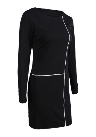Line Printed Long Sleeve Bodycon Dress