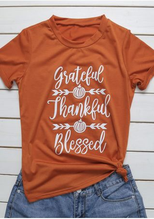 Grateful Thankful Blessed Pumpkin Arrow T-Shirt