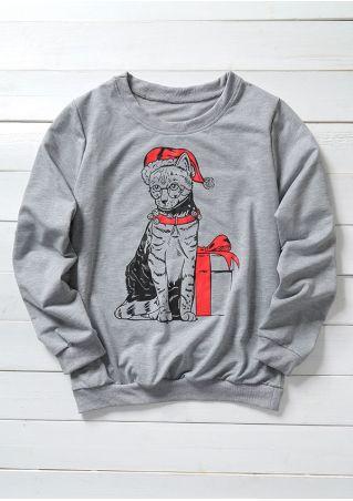 Christmas Cat Long Sleeve Sweatshirt