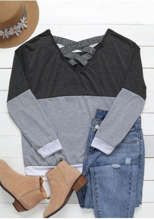 Color Block Criss-Cross T-Shirt