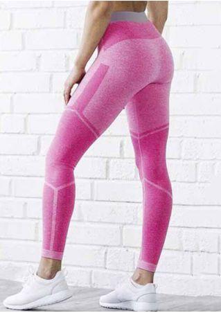 Color Block Elastic Waist Sport Pants