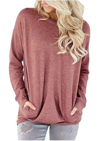 Solid Pocket O-Neck Long Sleeve T-Shirt