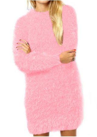 Solid Fluffy Long Sleeve Mini Dress