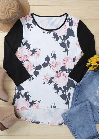 Floral Asymmetric O-Neck Blouse