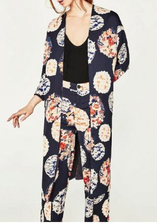Floral Three Quarter Sleeve Long Cardigan
