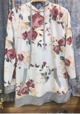 Floral Splicing Drawstring Pocket Hoodie