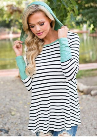 Striped Splicing Hooded Long Sleeve Blouse