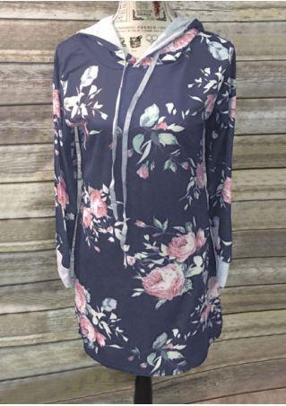 Floral Splicing Drawstring Hoodie Dress