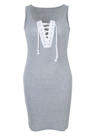 Lace Up Splicing Bodycon Dress