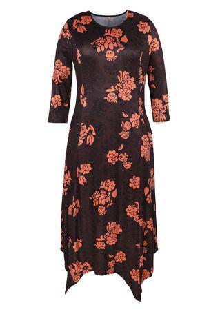 Plus Size Floral Maxi Dress without Necklace