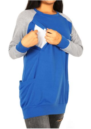 Splicing Pocket Button Lactation Sweatshirt