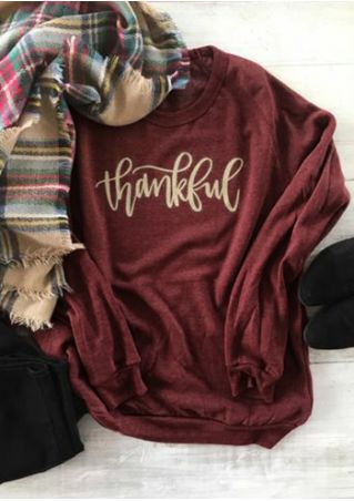 Thankful O-Neck Long Sleeve Sweatshirt