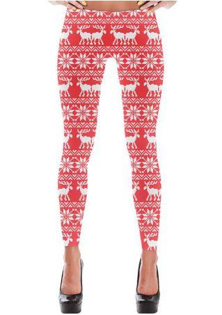 Christmas Reindeer Snowflake Printed Leggings
