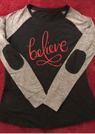 Believe Elbow Patch O-Neck Baseball T-Shirt
