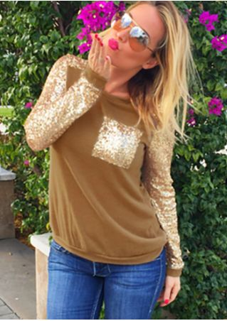 Sequined Pocket Long Sleeve T-Shirt