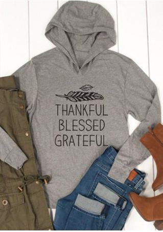 Thankful Blessed Grateful Long Sleeve Hoodie