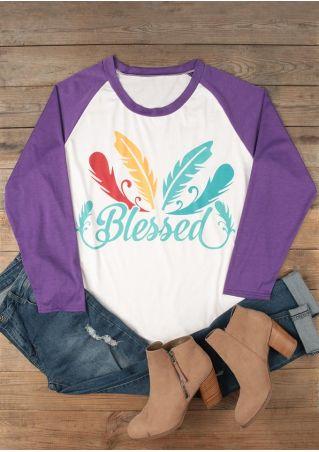 Plus Size Blessed Feather Printed Baseball T-Shirt
