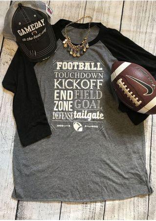 Football Touchdown O-Neck Baseball T-Shirt