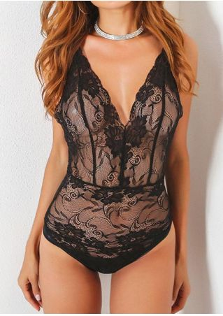 Solid Lace Floral Lingerie without Necklace